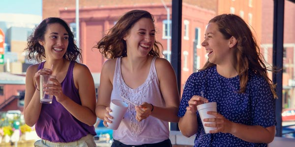 Photo of three girls in downtown Lincoln.