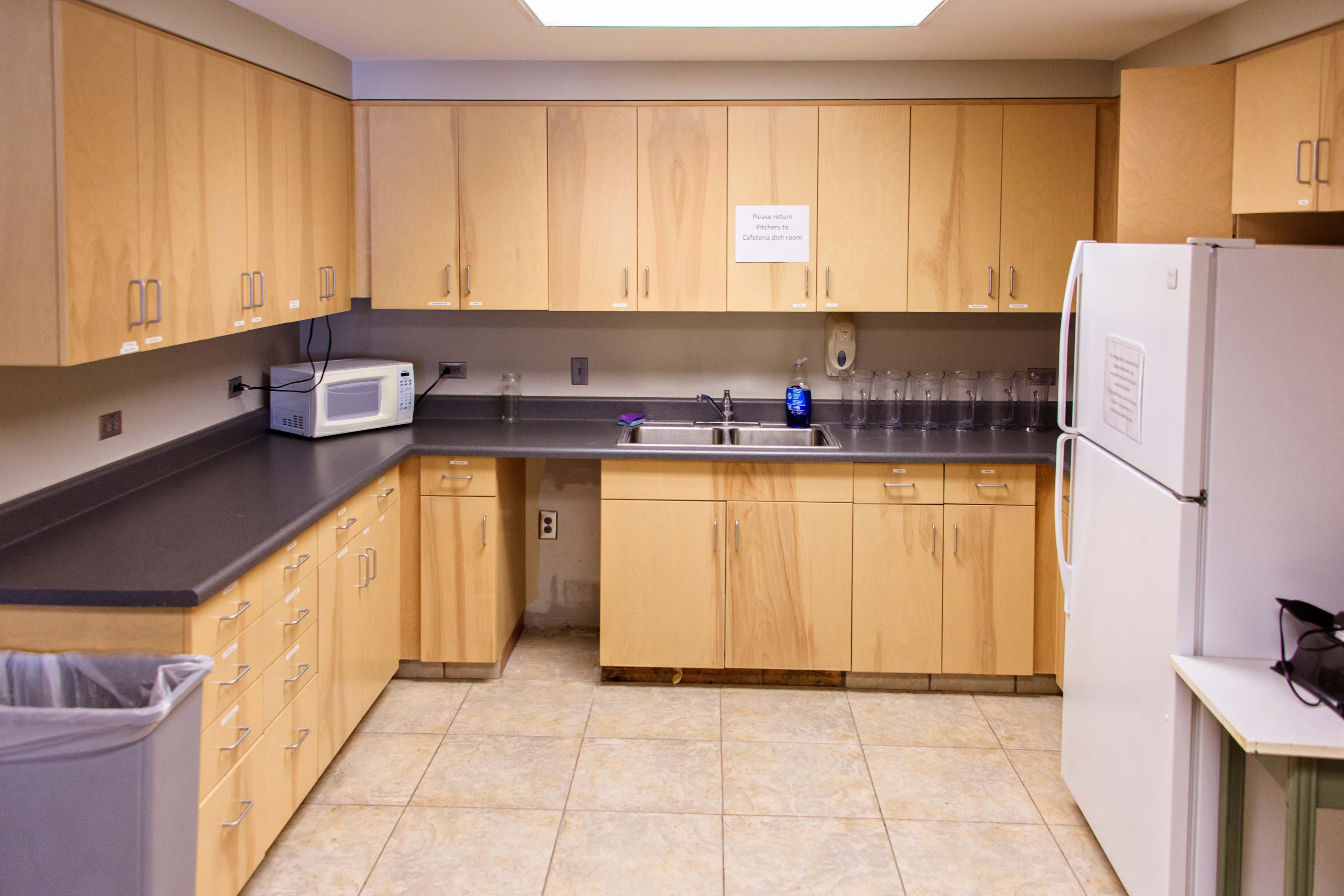 A small kitchen that can be accessed from the Shawnee-Porter Care Conference Room